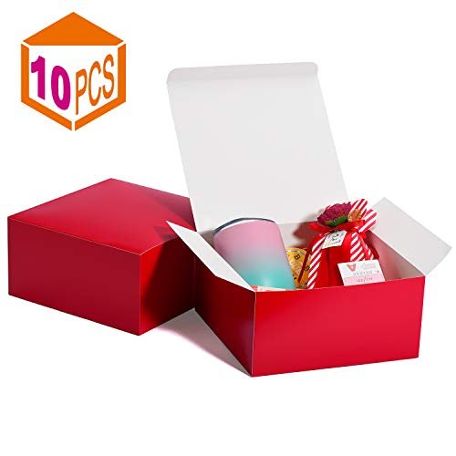 MESHA Cardboard Gift Boxes 10 Pcs-8X8X4in Favor for Bridesmaid Proposal/Birthday/Party/Wedding, Kraft Paper Present Packaging Box with Lid, Decorative Gift Wrap Boxes Bulk for Crafting/Cupcake -Red