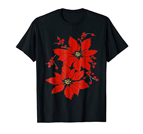 Red Poinsettia Happy Merry Christmas T-shirt
