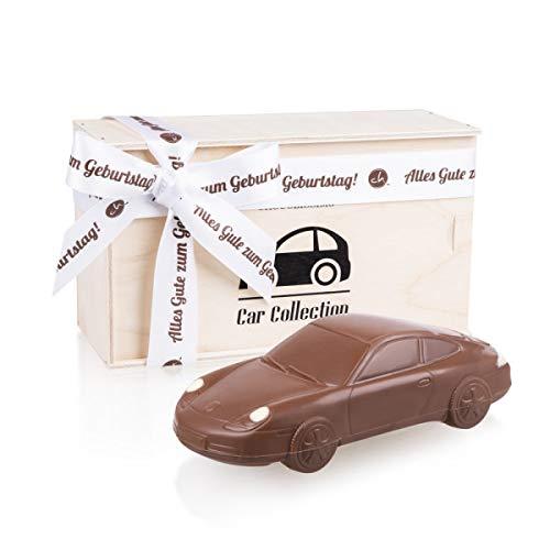 Porsche 911 Carrera - Geburtstag - Auto aus Vollmilchschokolade | Holzkästchen mit Geburtstagsschleife | Geburtstagsgeschenk für Autoliebhaber | Kinder | Erwachsene | Mann | Frau