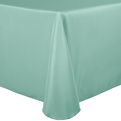 Ultimate Textile 60 x 102-Inch Oval Polyester Linen Tablecloth Mint Light Green