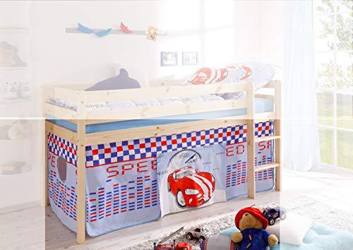 Jugendmöbel24.de Vorhang Auto Speed 3-teilig 100% Baumwolle inkl Klettband Kinderzimmer Stockbett Kinderbett Spielbett Etagenbett Hochbett Stoffvorhang