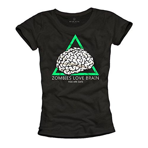 Lustiges Zombie Survival Shirt für Frauen - You Are Safe Walking Dead schwarz L