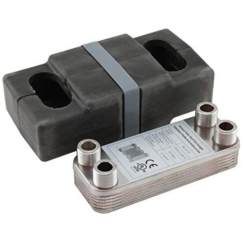 Edelstahl Plattenwärmetauscher + Isolation B3-12-12 mit 4x 3/4 Zoll Anschl. 45kW Heizung Solar (PWT+Iso)