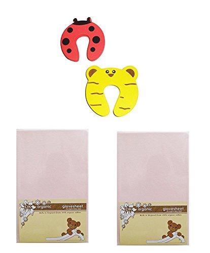 DK Glovesheets biologico rosa due fogli lenzuolo per culla 83x 50cm 100% cotone organico–Specifically designed to fit the next to Me–Materasso Plus 2pezzi fermaporta