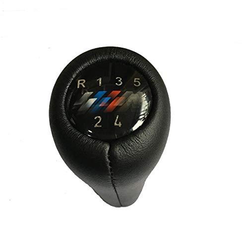 GXZYY Pomo de Cambio de Marchas de Coche de 5/6 velocidades con Emblema de Potencia, Apto para BMW 1 3 5 6 Series E30 E32 E34 E36 E38 E39 E46 E53 E60 E63 E83 E84 E90 E91-5speed Cuero M