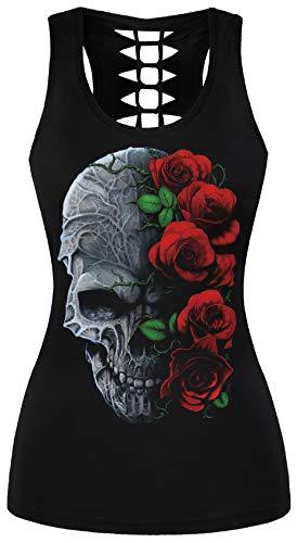 Ocean Plus Mujer Cráneo Camiseta de Tirantes Deporte Wrap Camisetas sin Mangas Gótico Tops Camisa Cuello en U Halloween Secado Rápido Camisa (S/M (Pecho: 68-88 cm), Rose cráneo)