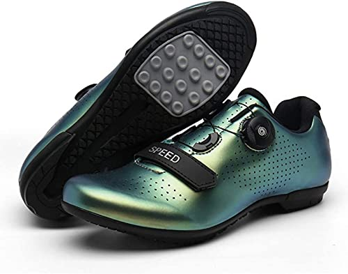 Calzado de Ciclismo Para Hombre,Los Zapatos de Bicicleta de Carretera Se Utilizan Para Andar en Bicicleta de Carretera, Parte Inferior Resistente Al Desgaste Adecuada Para Principiantes,Green A-45EU