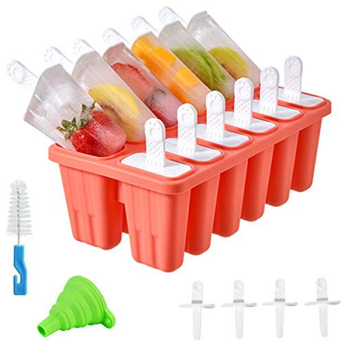 Helistar Popsicle Molds 12 Pieces DIY Reusable Silicone Ice Pop Molds Easy Release Ice Pop Maker with 16 Reusable Popsicle Sticks Silicone Funnel and Cleaning Brush, Red
