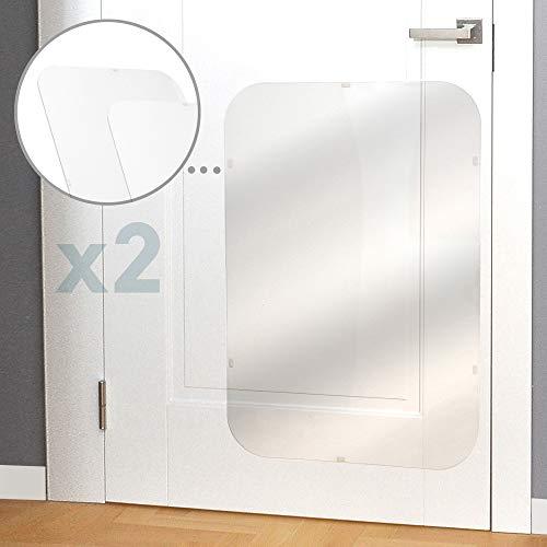 PROTECTO Protector contra Arañazos para Puertas Premium 90 x 60 cm; Cubierta de Puertas para Perros para Uso Interior y Exterior - Transparente 2-Pack