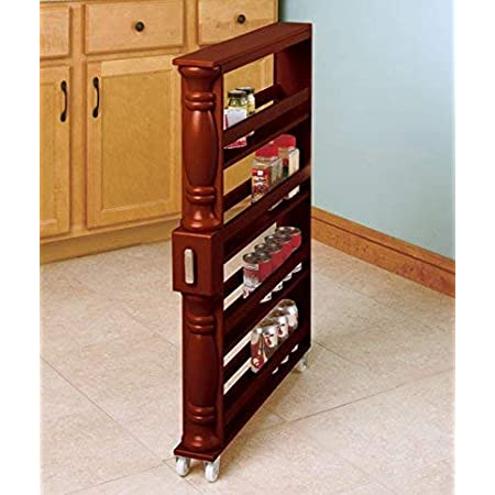 Brown Wooden Spice Seasoning Can Rack Slim Rolling Cart Space Saver Organizer Shelf Storage Kitchen Organization Fits Between Cabinets and Refrigerator by KNL Store