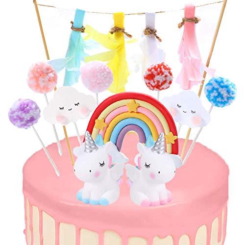 WELLXUNK® Unicorn Cake Topper, Cake Topper Decoraciones, Decoración Pastel Unicornio, Decoración para Tartas Arco Iris, Unicorn Cupcake Topper, para Infantiles Niños Niñas Tartas Cumpleaños