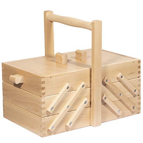 Uakeii Costurero XXL de alta calidad de pícea, muchos compartimentos, plegable, sin contenido, 43 x 23 x 35 cm