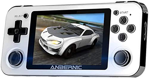 MJKJ RG351P Handheld Game Console , 64G TF Card 2500 Classic Games Opening Linux Tony System RK3326 Chip 3.5 Inch IPS Screen (White)