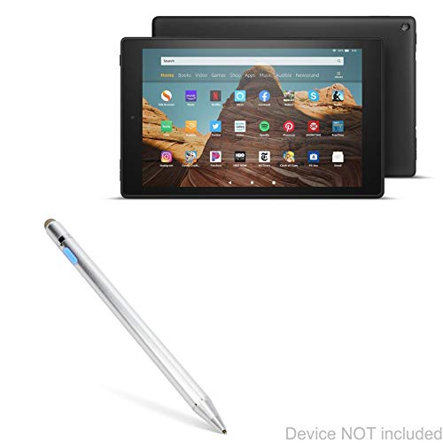 Amazon Fire HD 10 (2019) Stylus Pen, BoxWave [AccuPoint Active Stylus] Electronic Stylus with Ultra Fine Tip for Amazon Fire HD 10 (2019) - Metallic Silver