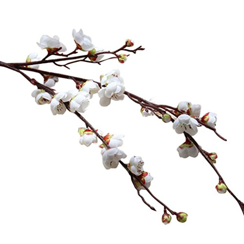 Fleurs artificielles, Mamum Fleurs Fleur Floral Cerisier Printemps Plumes Fleur Branche Simulation Soie Faux Mariage Bouquet FêTe DéCoration Art Romantique (Blanc)