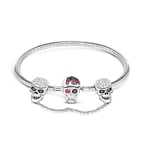 GNOCE Skull Charm Bracelet with Safety Chain Sterling Silver Snake Chain Basic Charm Bangle with Skull Clasp (8.3)