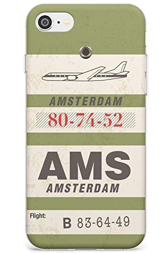 Amsterdam Vintage Etichetta per Bagagli Slim Cover per iPhone 5 TPU Protettivo Phone Leggero con Viaggio Wanderlust Città Nazione Viaggio