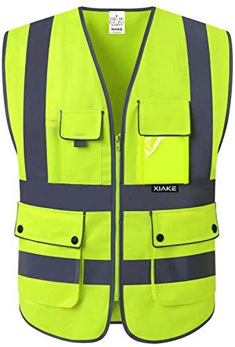 XIAKE Unisex 8 Taschen Warnweste Hohe Sichtbarkeit Weste Reflektierende EN ISO 20471 Standards mit Reißverschluss Gelb 8 Taschen S