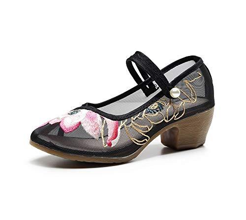 TIANRUI CROWN Lotus Stickerei High Heel Dicker Absatz Sommer Antik Hollow Out Gaze Bestickte Schuhe Damen Sandalen, Schwarz - Schwarz - Größe: 39 EU
