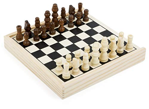Small Foot to go, certifié FSC 100%, belle version haute qualité, jeu d'échecs dans une boîte en bois avec 32 pions, idéal pour emporter, Pour les enfants à partir de 6 ans. Jouets, 11209, multicolore