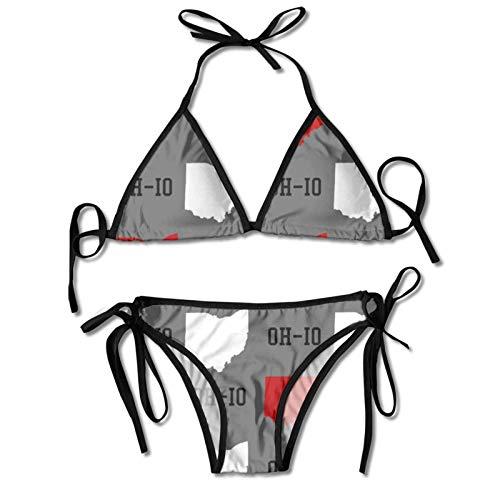 DRXX Bikini da Donna Set da Bagno con Bandiera del Sud Africa Costume da Bagno Push-up con Scollo all'Americana Costume da Bagno a Triangolo Nero