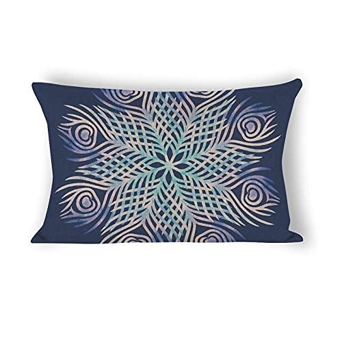 Funda de almohada de 50,8 x 76,2 cm, diseño de mandala de plumas de pavo real decorativo de algodón y lino, funda de almohada lumbar para sofá, ropa de cama, coche y decoración del hogar