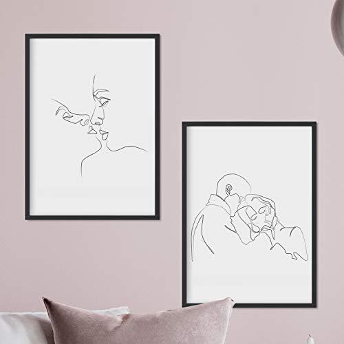 """Nacnic Set de 2 láminas de dibujos con un solo trazo """"Beso y abrazo"""". Posters con una sola linea. Tamaño A3 sin marco"""