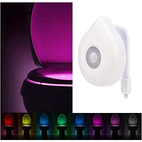 XHSHLID bewegingsmelder, intelligente wc-bril, nachtlampje, 8 kleuren, waterdicht, LED-lamp, WC-licht