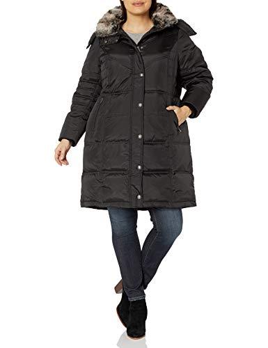 London Fog Women's Plus-Size Mid-Length Faux-Fur Collar Down Coat with Hood, Black, 1X