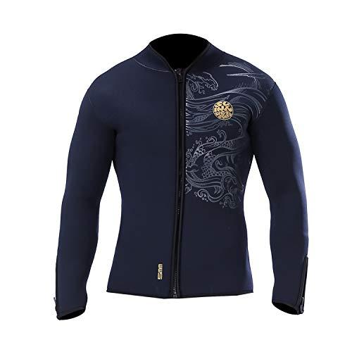 PAWHITS Neoprenanzug 5 mm Lange Ärmel Thermo-Neopren Jacke für Damen und Herren Schwarz (XXL)