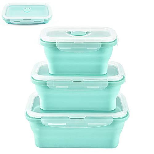 Jojobnj Silikon Faltbare Frischhaltedosen, 3 Stück Zusammenklappbaren Container Brotdosen für Mikrowellen, Kühlschränke, 350ML500ML800ML Dreiteiliges Set