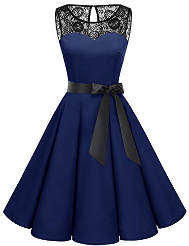bbonlinedress 1950er Ärmellos Vintage Retro Spitzenkleid Rundhals Abendkleid Navy 2XL