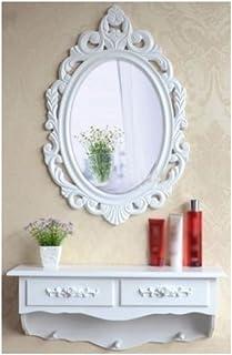 Tocador y espejo de madera vintage estilo shabby chic cajón de almacenamiento de cosméticos Reino Unido SZ...