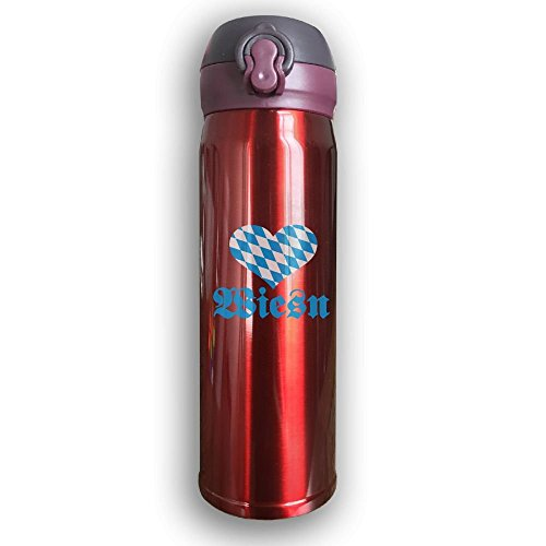 Stainless Water Bottle Custom Oktoberfest Wiesn,Sports Drinking Bottle,Leak-Proof Vaccum Cup,Travel Mug,With Bounce Cover,Red