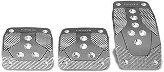 NRG PDL-400GM Brake/Gas/Clutch Manual MT Sport Race Foot Pedal Plates Cover Set (Gunmetal w/Silver Carbon Fiber Trim)