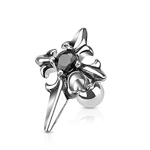 Les Plaisirs de Stella - Piercing per trago/cartilagine, orecchio, in acciaio chirurgico 316L e cristallo nero, croce medievale