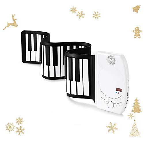 Donner Roll Up Piano Keyboard, 61 Keys Portable for Kids Beginners or Finger Strength Exercises with Sustain Pedal White