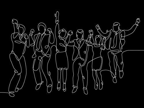 Queence | Acrylglasbild 'Partytime' | Wandbild | Glasbild | Acrylbild | Rahmenlos | 'One Line Collection' | mit Aufhängesystem, Größe:90x60 cm