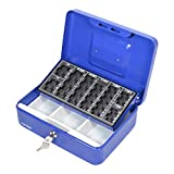 HMF 10022-05 Cassetta Portavalori con Vassoio Porta Monete e Banconote 25 x 18 x 9 cm, blu