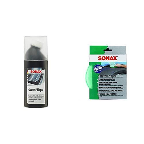 SONAX GummiPfleger mit Schwammapplikator reinigt, pflegt & hält alle Gummiteile elastisch & MicrofaserPflegePad (1 Stück) für gleichmäßiges Auftragen von Kunststoffpflegemitteln im Innenraum