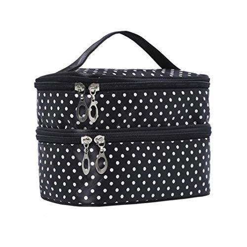 Travel Makeup Bag, GLOA Cosmetic Polka Dot Double Layers Makeup Toiletry Organizer Storage Bag - Black