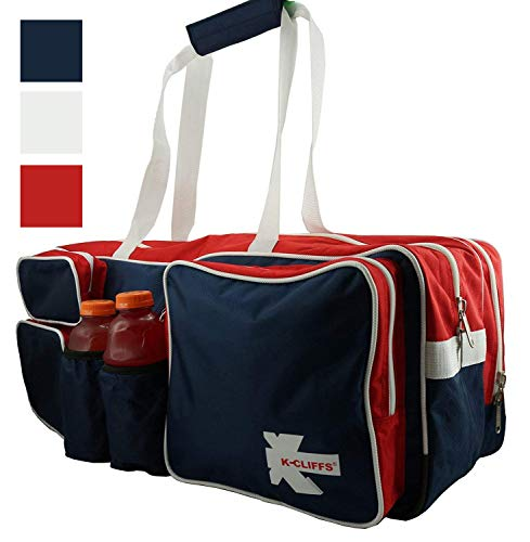 K-Cliffs Tennis Racket Bag | Deluxe Ballistic Nylon Travel Duffel | Shoe Compartment Red White Blue