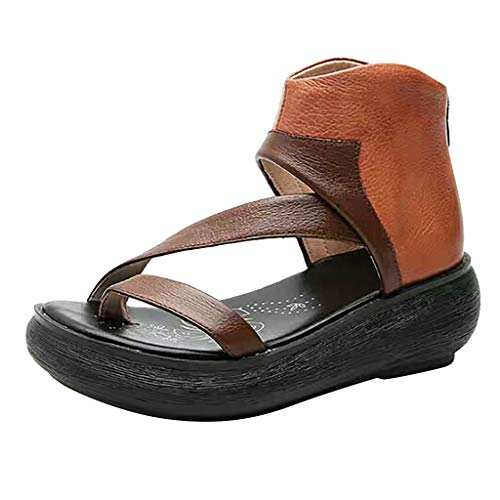 Buy Discount cobcob Women's Wedge Platform Sandals,Ladies Leather Flip Flop Open Toe Summer Comforta...