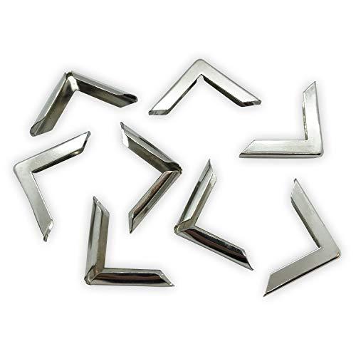 40 Buchecken / Buchbeschläge aus Metall (silber, 22 x 22 x 3,5 mm)