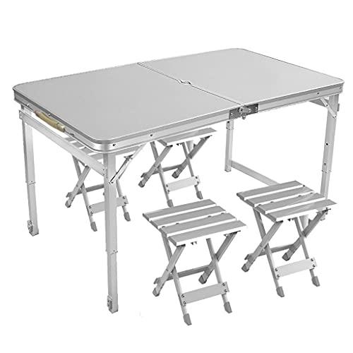 Mesa Plegable Portatil Mesa de camping plegable con un agujero de paraguas y mango de mesa sin ensamblaje para el patio de playa de picnic al aire libre Escritorio Plegable ( Style : Table+Chairs A )