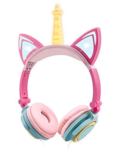Auriculares niñas, Auriculares Unicornio con Cable para niños,Auriculares con Orejas de Gato,Headphones Recargables LED luz Headset,Auriculares niños de 85dB Volume Limited