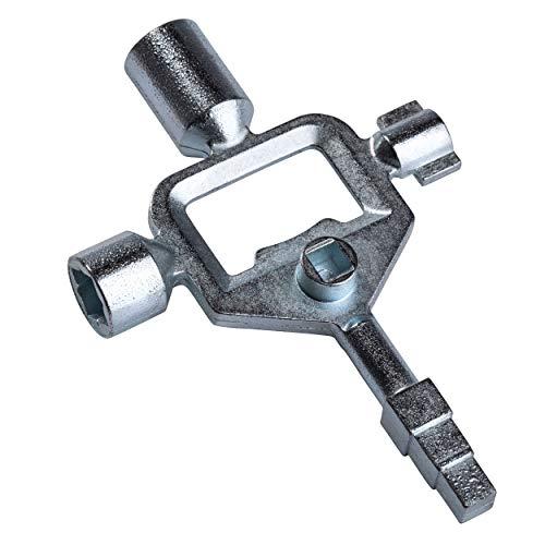 SCHÜNKE Llave de armario con cuadrado exterior escalonado, llave universal estable y manejable de zinc, se puede utilizar como llave cuadrada, llave triangular, llave de ventilación, etc.