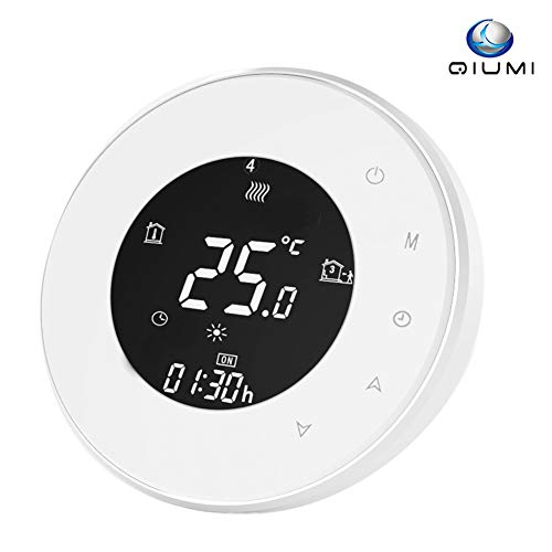 Qiumi Smart WiFi Thermostat Programmierbare LCD Raumthermostat, Kompatibel mit Alexa/Google Home, 16A 110-240 V Touchscreen Elektrische Heizung Temperaturregler (mit sensor)