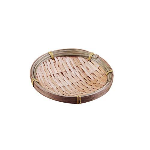 3 stks Handgemaakte Bamboe Weven Ronde Opbergmand Fruitschaal Rotan Brood Lade voor Keuken Diverse Mini Container Voedsel Picknick Brood, 13 CM