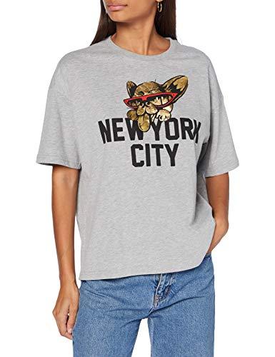 Superdry City New York Graphic tee Camiseta, Marga Gris, XS (Talla del Fabricante:8) para Mujer